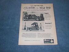 1966 Monogram Uncertain 'T' & Bugatti Type 35B GP Racer Vintage Model Ad