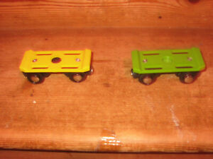 BIGJIGS BJT442 TRAIN TRACK RAIL FLAT BED CAR CARRIAGES MAGNETIC COUPLING FITS MO