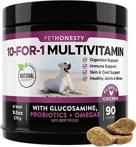 Essential 10 in 1 Dog Multivitamin Glucosamine Chondroitin Probiotics Omega 90ct