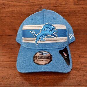 New Detroit Lions NFL New Era Mens Stretch Fit Hat Size M Medium L Large Blue