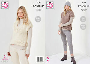 King Cole Ladies Rosarium Knitting Pattern Easy Knit Tank Tops & Hat 5753