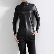 Lady Leather PU T-shirt Tops Long Sleeve High Neck Slim Casual Black Fashion