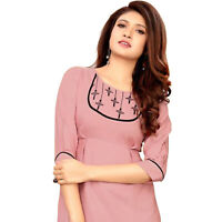 Women Fashion Indian  Embroiderer Rayon Kurti Tunic Kurta Top Shirt Dress