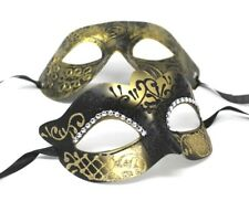 GOLD AND BLACK HIS N HERS PAIR OF COUPLES MASQUERADE PROM FACE PARTY EYE MASKS