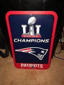 New England Patriots Superbowl LI Champions Locker Room Sign 11x17
