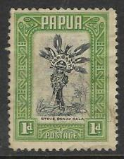 PAPUA 1932 1d Green CHIEFTAIN'S SON 1v USED (No 2)