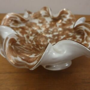 Vintage Blown Glass Murano Bowl/Cigar Dish White Copper Encased In Clear Glass