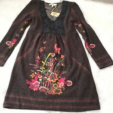 NWT ANTHROPOLOGIE Aryeh S Brown Yellow Red Floral Hippie Embroidered Stretch
