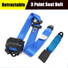 3 Point Blue Lap Seat Belt Extension Buckle Adjustable Nylon Straps For Car Bus