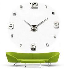 Silver Wall Clock Large Watch Clock 3D English Number Luxury Gift Home Decor FT