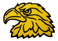Yellow Hawk Eagle Head Motorcycles Biker Embroidered Iron on Patch Free Postage
