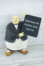 Waiter Statue Figurine Home Decor Kitchen Ornaments Humour Plaque 19cm GD30785
