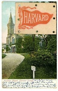 Cambridge Mass MA-APPLETON CHAPEL-HARVARD UNIVERSITY-Leather Patch Postcard