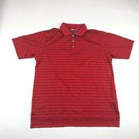 Adidas Mens Red Striped Climacool Short Sleeve Golf Polo Medium