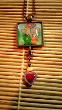 Babar and Celeste Glass Pendant Necklace and hand painted heart charm US Seller