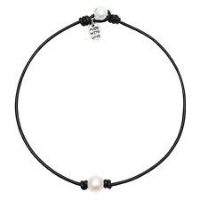 on Leather Cord One Bead Jewelry Pernnla Single Freshwater Pearl Choker Necklace