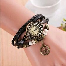 Reloj Pulsera Reino Unido * Ladies Aspecto de Cuero Negro Vintage Marca de Paz multicapa encanto