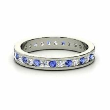 Natural Sapphire White Gold Engagement Fine Rings