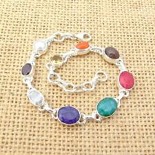 Mixed Stone Emerald Ruby Sapphire 925 Silver Bracelet Indian Jewellery