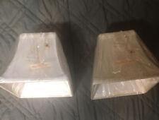 "Set of 2 Ivory Off-Whites Classic Square Lamp Shades 4""x7""x6.5"" New NIP"