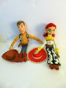 """Disney Store Toy Story Pull String Woody 16"""" & 14 inch Jessie Talking Figure"""