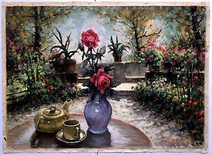 """Giardino Fiorito (Flowered Garden)"" Oil on Canvas  Artist: Mario Battistini"