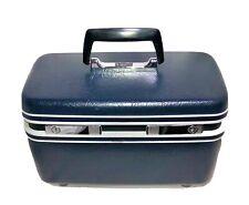 Vintage Samsonite Sentry Train Case Cosmetology Travel Makeup Hard Navy Blue JCP