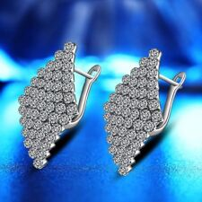 Crystal Lady Bridal Engagement Earrings Studs 18K White Gold GP AAA CZ Zircon