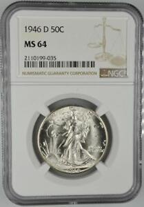 1946-D Walking Liberty Half Dollar NGC MS 64 No Reserve Auction 99C Opening Bid