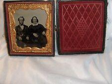 Antique Tintype Photos Miniature 1800's Man & Wife Pocket Watch Wood Case D4