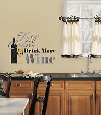 KEEP CALM & DRINK MORE WINE Quote wall sticker 7 stickup Cork Glass  Kitchen Bar