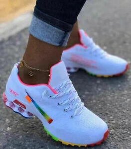 Air cushion shoes Shox white black rainbow men's and women's joint running shoes