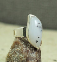 SOLID 925 STERLING SILVER JEWELRY NATURAL DENDRITIC AGATE RING SIZE 7.5 KR1044