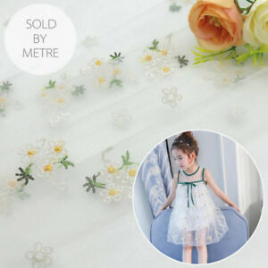 Floral Lace Tulle Fabric Embroidered Dress Dressmaking Materials Sold By Metre