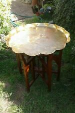 Antique Brass Table with Scalloped Edge on Wooden Stand