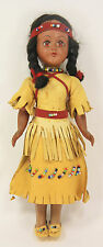 Vintage Native American Indian Doll Leather Dress Beads Fringe Sleep Eyes Braids