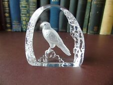 Vintage Wedgwood Art Glass Crystal Etched Hawk Paperweight