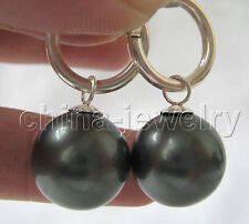 E3356-16mm natural peacock black south sea shell pearl earring -925 silver hoop