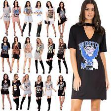 Womens Ladies Rock American Choker Neck Keyhole Cut Tunic Longline T Shirt Dress