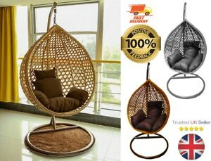Rattan Garden Egg Chair Hanging Swing pod Outdoor/in/patio Grey/brown/ Wicker