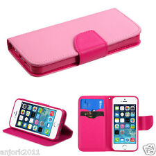 iPHONE 5 5S WALLET FOLIO CASE W/CARD SLOTS FOLDED STAND COVER PINK HOT PINK
