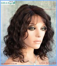 BRAZILIAN Remy Human Hair Swiss Lace Front 5.5 x 11 Lace Top Wig Nat Black 1275