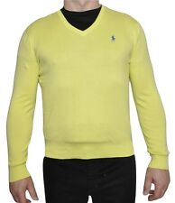 Polo Ralph Lauren Pima Cotton V-Neck Sweater Pullover Yellow S Nwt $98
