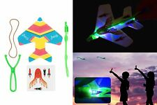 LED Flash Flying Light Up Airplane Flight Rubberband Elastic Traditional Toy New