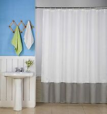 1 H10 WHITE/SILVER WATER REPELLENT SHADES FABRIC BATHROOM SHOWER CURTAIN