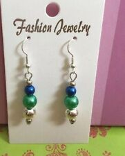 Metallic Green Blue And Silver Drop Earrings Handmade Free Postage