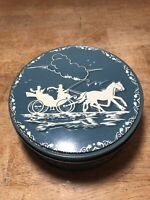 "Vtg Shirley Jean Fruit Cake Horse & Carriage Metal Tin Blue Embossed 7"" 32 Oz"
