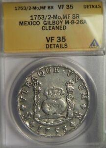 1753/2 MF 8 Reales:   ANACS VF35:   Mexico City Mint