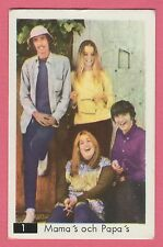 1960s Swedish Pop Star Card #1 The Mamas & Papas with Beatles Sectional Back
