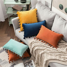 Velvet Tassel Solid Colour Pillow Covers Cushion Cover Home Throw Pillow Case
